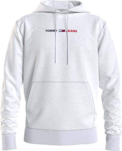 Tommy Jeans TJM Straight Logo Hoodie Chaqueta con Capucha de Skateboarding, Htr Blanco, XXL para Hombre