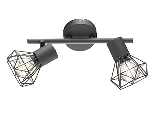 Lot de 2 spots muraux avec grille, abat-jour en gris foncé, style vintage, spots orientables avec LED E14.