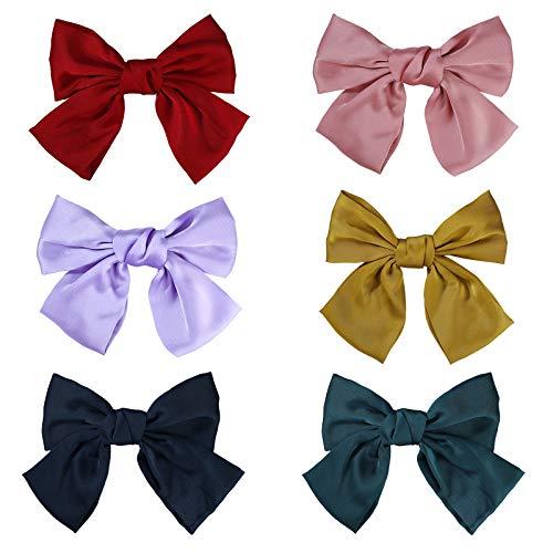 Große Haarschleifen, Schleife Haarspangen 20cm Ripsband Haar Haarklammern Alligator Clips, Glatte Elegante Bowknot Hair Bow für Mädchen Frauen(6 Stück)