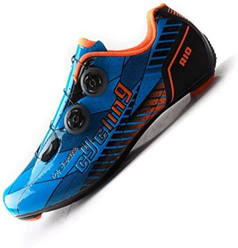 KUXUAN Zapatillas De Ciclismo para Hombre Zapatillas De Bicicleta,Carretera Ciclo De Giro Ciclismo De Carretera De Interior Zapatillas De Bicicleta De Montaña Transpirables,Blue-42