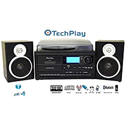 TechPlay ODC128BT 3-Speed Turntable with Cassette Player/Recorder, CD,MP3 SD Card / USB Player, Digital AM / FM Radio, AUX in, Line Out Alarm Clock , Remote and External Speakers (Black Wood)