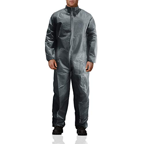 AMZ Gray Protective Coverall. Adult Disposable Coverall 100% Virgin Polypropylene X-Large Fabric Apparel with Zipper Front Entry and Elastic Wrists Unisex Workwear for Industrial Applications