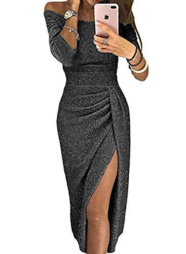 FIYOTE Damen Off Cocktailkleid Shoulder Kleider für Hochzeit Elegant Maxikleider Glänzend Hoch...