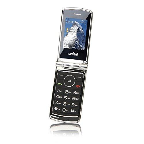 Switel M220 Classico Dual SIM Klapphandy, kontraststarkes Farbdisplay, große beleuchtete Tasten, Vibrationsalarm, elegantes Design