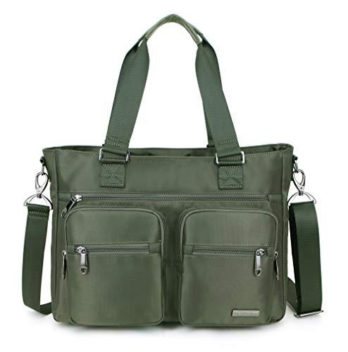 La Packmore Water Repellent Nylon Shoulder Bag Handbag Laptop Tote Travel Work School Clinic Nurse Tote (Olive)