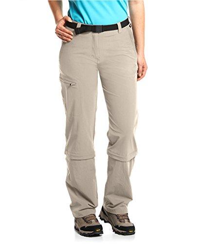 Maier Sports Damen Hose Arolla Zip Off, beige (feather gray), 52