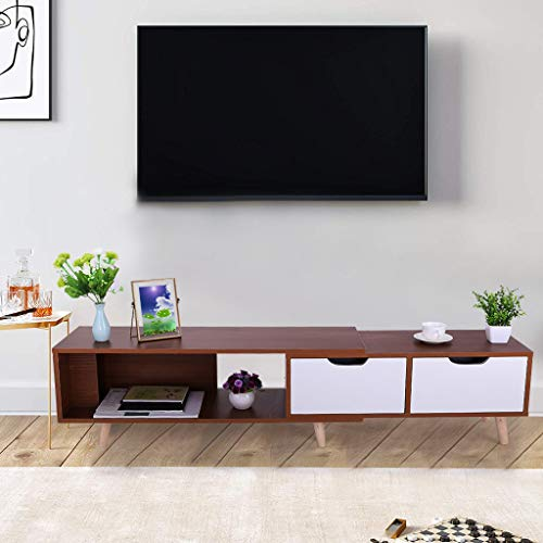 Liberty Collection Mid Century Modern TV Stand With Three Shelves, Console with 3 Cabinet and One Drawer With Splayed Legs, Wood/White (39+31)inch×15inch×12inch