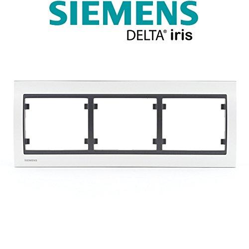 Siemens–Placa triple horizontal metal perla blanco Delta Iris Siemens