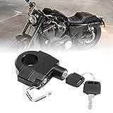 Lucchetto per moto, casco da moto resistente all'invecchiamento nero + argento, praticità di resistenza universale per XL 883C 1998-2008 XL 883 1997-2003
