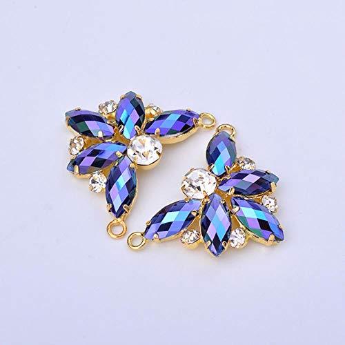 2 stuks 36 mm grote kristal AB bloem strass naaien op glas strass wandlamp kristallen stenen voor schoenen handwerk