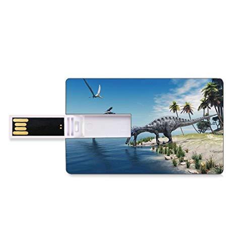 64GB Chiavette USB Flash Jurassic Decor Archiviazione su Memory Stick del disco U della chiave di affari della forma della carta di credito Un grosso pesce viene catturato da un dinosauro di Pterosau