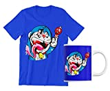 fashwork Coppia Tshirt e Tazza Divertente Doraemon Zombie - Meme - Divertenti - Anni 80 Anni 90