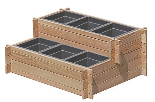 Gartenpirat Stufenbeet Holz Lärche Hochbeet zweistufig mit 6X Pflanzkasteneinsatz