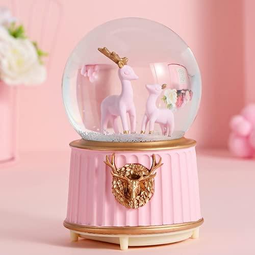 Caja de música de bola de cristal con LED, luz nocturna, bola de nieve musical con forma de castillo decorativa, bola de cristal y nieve. Juguetes de regalo para niños cumpleaños