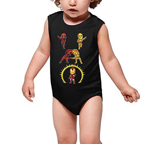 Body bébé sans Manches Noir Parodie Star Wars - Iron Man - Deadpool, C-3PO et Iron Man - Cyber Fusion !! Yaaahaaa ! (Body bébé de qualité supérieure de Taille 12 Mois - imprimé en France)