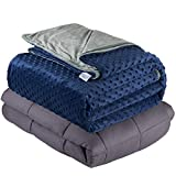 Quility Weighted Blanket for Adults - King Size, 86'x92', 20 lbs - Heavy Heating Blankets for Restlessness - Grey, Navy Cover