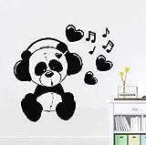 Panda escuchar música pared calcomanía dormitorio guardería diseño de interiores sala de música arte moderno mural vinilo pared pegatina amor canción 30x31 cm
