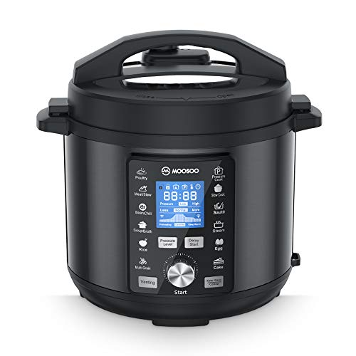 MOOSOO 13-in-1 Electric Pressure Cooker, Instant LCD Digital Pressure Pot, 6 Quart, 304 Stainless Steel Slow Cooker, Steamer, Rice Cooker, Cake Maker, Sterilizer, Saute, Egg Cooker with 8 Practical Accessory Kits and Recipes, Black