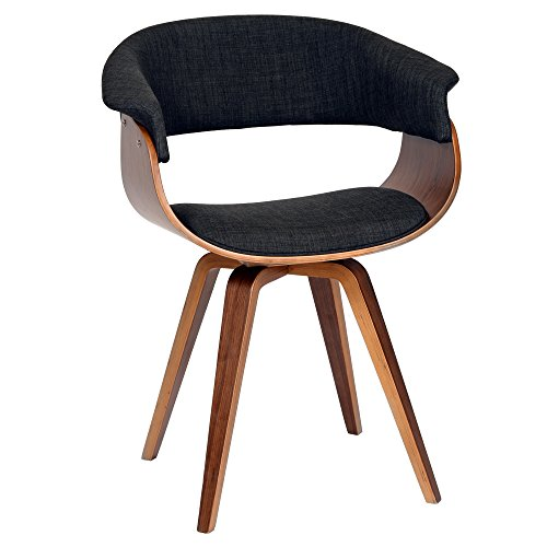 Armen Living Summer Chair in Charcoal Fabric and Walnut Wood...
