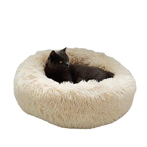 SENFEISM Cama para Perros Cama Redonda cálida para Perros Cojín Redondo para tumbonas para Mascotas para Perros pequeños medianos Grandes y Gatos Perrera para Perros de Invierno