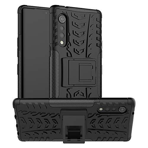 LFDZ Funda LG G9 ThinQ,con Soporte Cáscara de Doble Capa de Cubierta Heavy Duty Silicona Caso Funda para LG G9 ThinQ/Velvet Smartphone,Negro