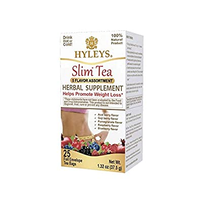 Hyleys Slim Tea 5 Flavor Assortment - Weight Loss Herbal Supplement Cleanse and Detox - 25 Tea Bags (1 Pack) from Amazonushylca