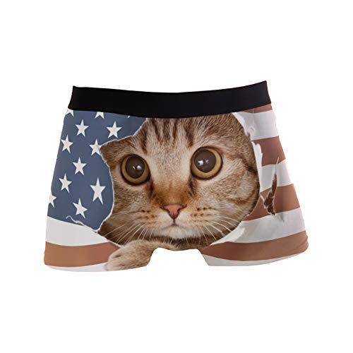 Linomo Herren Boxershorts USA Amerikanisch Flagge Katze Unterhosen Männer Herren Unterwäsche für Männer