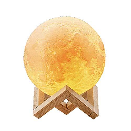Abcsea novedad lámpara de luna 3d con 3 colores, cómodo lámpara de luna led 3d, Lámpara de luna romántica, 10 cm Luz de noche de romántico