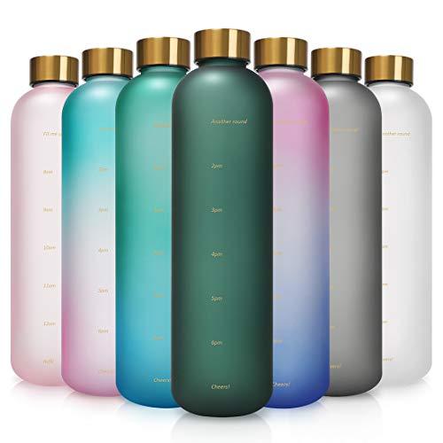 Opard Trinkflasche, 1L Wasserflasche, Auslaufsichere Water Bottle, BPA Frei Sportflasche Zeitmarkierung Wasser Flasche (Dunkelgrün)