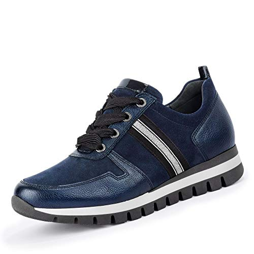 Gabor Damen Sneaker 36.435, Frauen Low-Top Sneaker,Halbschuh,Schnürschuh,Strassenschuh,Business,Freizeit,Marine (Silber),38.5 EU / 5.5 UK