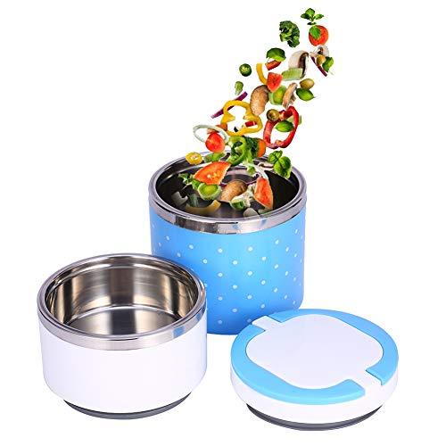 2 Strati Lunch Box, Thermos Termico Lunch Box con Contenitore di Cibo Caldo di Isolamento in Acciaio Inox, Thermos per Alimenti, per Neonati in Viaggio Campeggio (Blu)