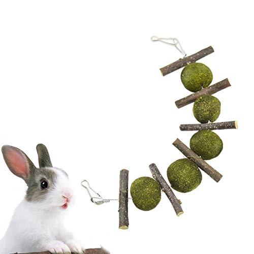 YUEMING Juguetes Animales Pequeños,Masticar Juguetes para Dientes,Natural Manzana Palos De Madera Hierba Bola,Dientes de Molienda Juguete de Masticar para los Conejos, Chinchilla, Hámsters, Cobayas