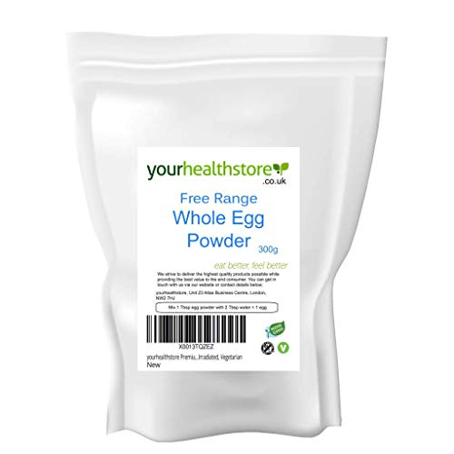 yourhealthstore 100% Pure Free Range Whole Egg Powder 300g, Equivalent to 56 Eggs, Perfect for Scrambled Eggs, No Additives, Not Irradiated, Vegetarian (Recyclable Pouch)