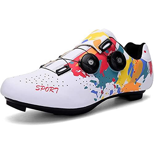 XTZLTY Zapatos De Ciclismo, Zapatos De Ciclismo De Carretera Zapato Giratorio Zapato Transpirable SPD Ciclismo Spin Shoes para Hombres Mujeres,F,41