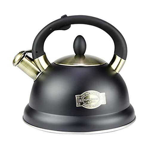 3.2 Quart Whistling Tea Kettle For Stove Top - Food Grade Stainless Steel Water Teapot With Cool Grip Ergonomic Handle - Tea Kettles Stovetop Whistling For Induction Gas Electric Halogen Stoves, Black