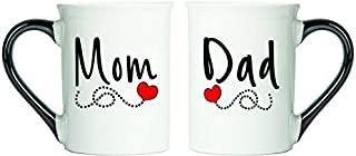 Cottage Creek Mom Dad Mugs Two Large 18 Ounce Ceramic Coffee Mugs/ 1 Mom Mug And 1 Dad Mug/Parent Gifts [White]