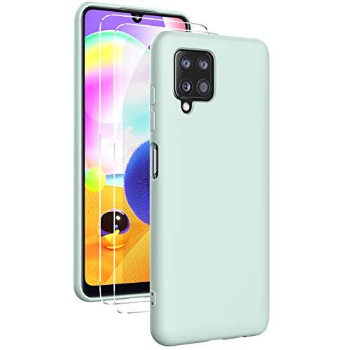 Oududianzi - Funda para Samsung Galaxy A12 con 2 Pack Protector de Pantalla de Vidrio Templado, Funda de Silicona Líquida Suave Case de Goma Ultrafina a Prueba de Choques de Color Puro- Menta Verde