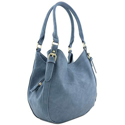 Light-weight 3 Compartment Faux Leather Medium Hobo Bag (Blue-Grey)