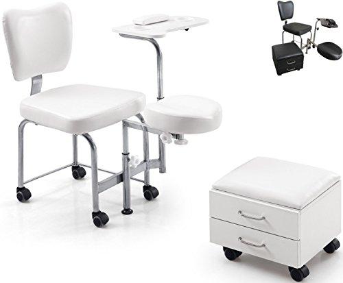 Athos Stuhl für Schönheitssalons, für Massage, Pediküre, Maniküre, Kosmetikbehandlungen, Nageldesign, Fußpflege, Bianco