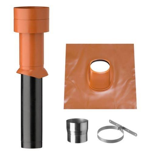 EASYTEC® Dachdurchführung naturrot für Steildach Ø 150 mm/Dachhaube für Abluft von Dunstabzugshaube / 25° bis 45° / Universalbleipfanne rot