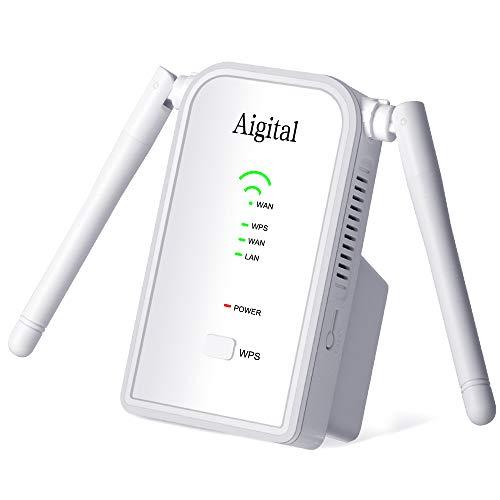 Aigital Ripetitore WiFi Wireless alla Grande Portata, 300Mbps WiFi Range Extender e Access Point Amplificatore Segnale WiFi Porta LAN WPS, Compatibile con Modem Fibra e ADSL-Risparmio energetico
