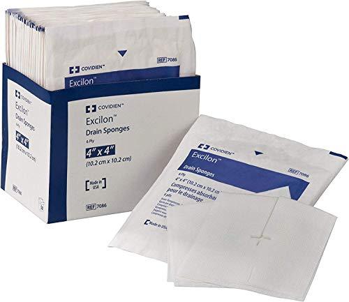 "Covidien 7086 Excilon Drain Sponge, Sterile 2's in Peel-Back Package, 4"" x 4"", 6-ply (Pack of 50) (2)"