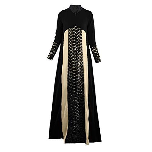 Donna Accappatoio Le Donna Chic Dress Musulmane Abito Fashion Patchwork Langes Dubai Nazionale Islam Abaya Kaftan Musulmana (Color : Schwarz, Taglia Unica : L)