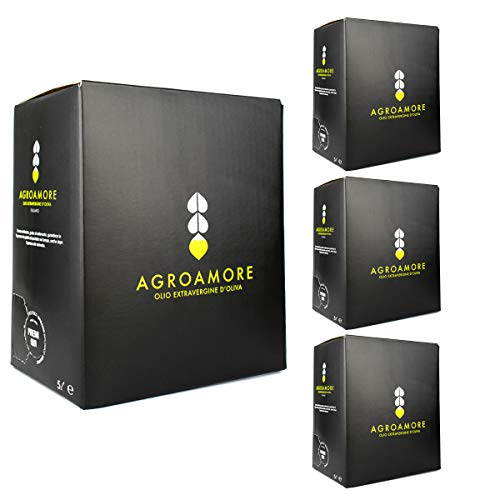 AgroAmore Olio Extravergine di Oliva Biologico 5 Litri prodotto in Abruzzo 100% Italiano (4 Box)