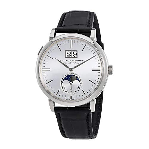A Lange & Sohne Saxonia 18kt White Gold Moon Phase Automatic Men's Watch 384.026