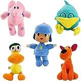 5PCS Pocoyo Peluches - Pato, Loula, Elly Sleepy Bird Pocoyo Juego de muñecos de peluche para niños, ...