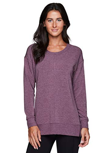 RBX Active Women's Fashion Relaxed Everyday Lightweight French Terry Sweater Pullover Sweatshirt F20 Berry Purple L