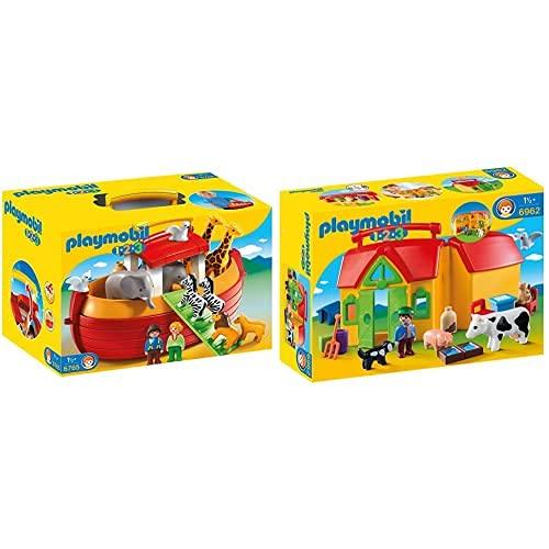 Playmobil 1.2.3 6765 - Arca Di NoÈ Portatile, Dai 18 Mesi & 1.2.3 6962 - Fattoria Portatile, Dai 18 Mesi
