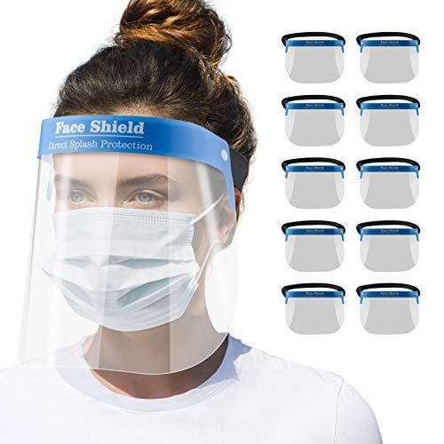 Blumax Gesichtsschutz Zertifiziert - Visier aus Kunststoff - Face Shield - transparentes Gesichts Schutzschild mit verstellbarem Gummiband (10)