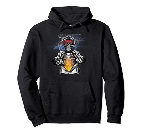 Skeleton With Bandana Coat Flame Graphic Pullover Hoodie